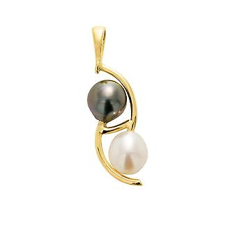 Pendant Tahitian Pearl and Perle de Culture of freshwater and yellow gold 750/1000