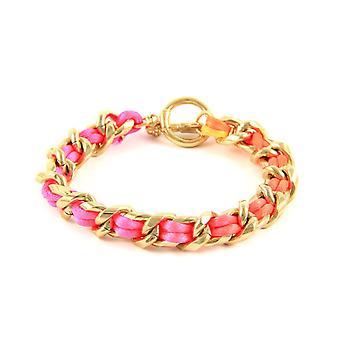 Ettika - pink Neon Yellow Gold Bracelet and Satin fabric