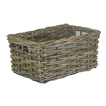 Large Rectangular Grey Rattan Storage Basket