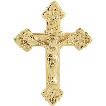 14k Yellow Gold Crucifix Lapel Pin 17.5x13mm  - .9 Grams