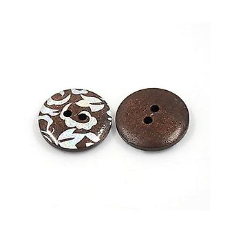 Packet 10 x Mixed/Brown Wood 20mm Round 2-Holed Patterned Sew On Buttons Y01160