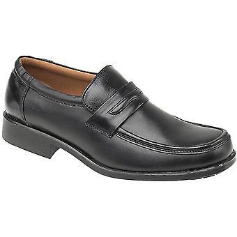 Amblers Mens Manchester Slip op bekleed leer formele Loafer zwart