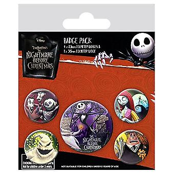 NIGHTMARE BEFORE CHRISTMAS Pack of Official Badges 5 Pin Badge Set