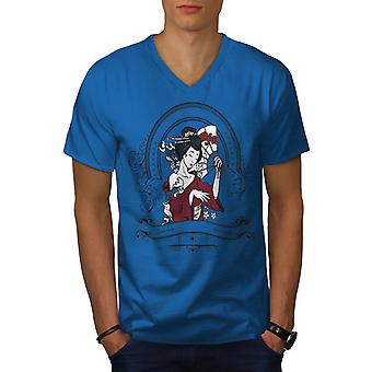 Girl Japan Woman Men Royal BlueV-Neck T-shirt | Wellcoda