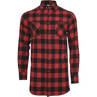 Urban Classics Herren Side-Zip Long Checked Flanell Hemd