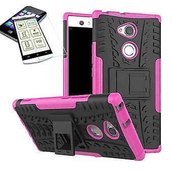 Hybrid Case 2teilig Pink für Sony Xperia XA2 Tasche Hülle + Hartglas