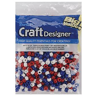 Pony Beads 6mmX9mm 720/Pkg-Opaque Red, White & Blue