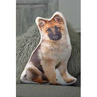 Adorable Long Haired German Shepherd Shaped Cushion