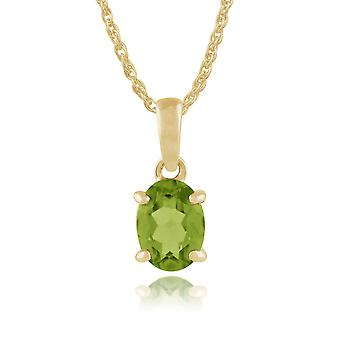 9ct Yellow Gold 1.15ct 4 Claw Set Peridot Classic Oval Pendant on Chain