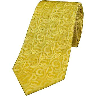 David Van Hagen Link Pattern Luxury Silk Tie - Gold