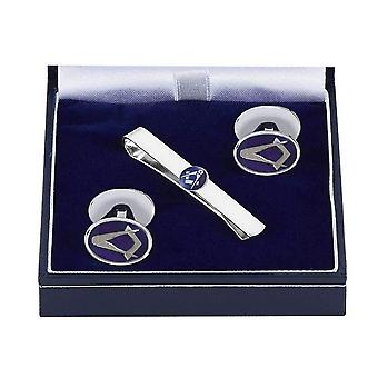 Woodford Masonic Enamelled Tie Slide and Cufflink Set - Silver