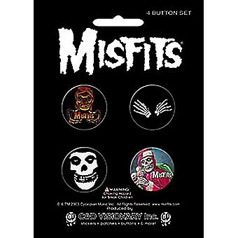 Misfits 4 Round Pin Badges In Pack