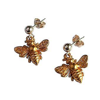 Gemshine - ladies - earrings - 925 Silver - gold plated - BEE - bee - 1.5 cm