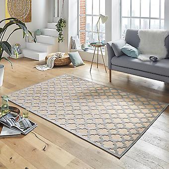 Ontwerpen van viscose tapijt Bryon in reliëf uiterlijk crème grijs