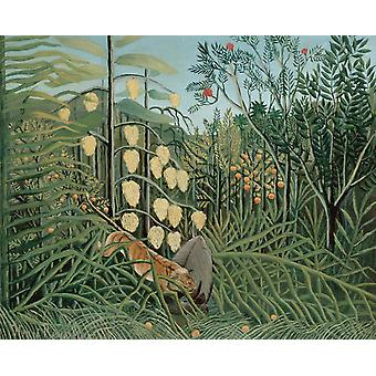Fight Between a Tiger and a Bull, Henri Rousseau, 50x40cm