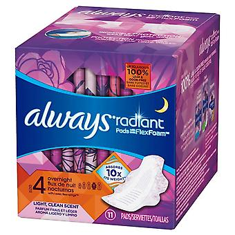 Always radiant overnight with wings flex foam pads, scented, 11 ea