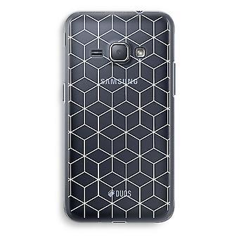 Samsung Galaxy J1 (2016) Transparent Case (Soft) - Cubes black and white