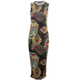 Ladies Sleeveless Midi Length Bodycon Three Various Prints Women's Dress