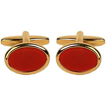 David Van Hagen vergulde Cornelian ovale Manchetknopen - rood/goud