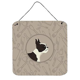 Boston Terrier In the Kitchen Wall or Door Hanging Prints
