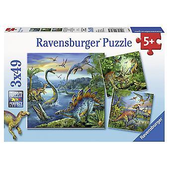 Ravensburger dinosaur puslespill 3 x 49 3 stykker