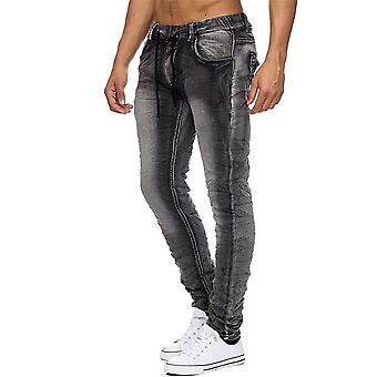 Mens Jeans Pants Jogger Stretch Elastic Waist Used Washed Drawstring Trousers