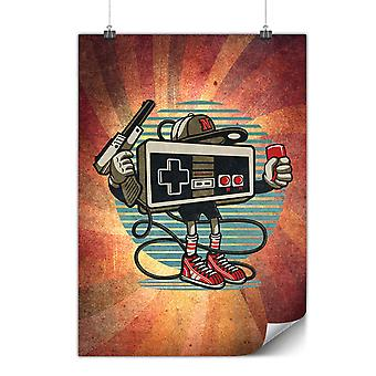 Mate o brillante cartel con juego Retro Gamer | Wellcoda | * d2224