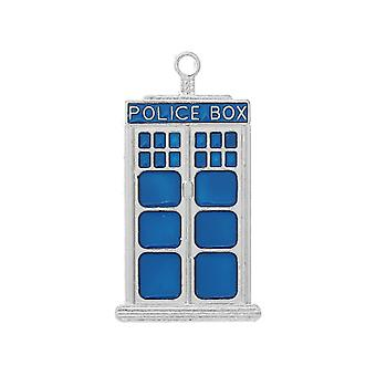 Packet 2 x Blue/Silver Enamel 50mm Dr Who Police Box Charm/Pendant ZX10130