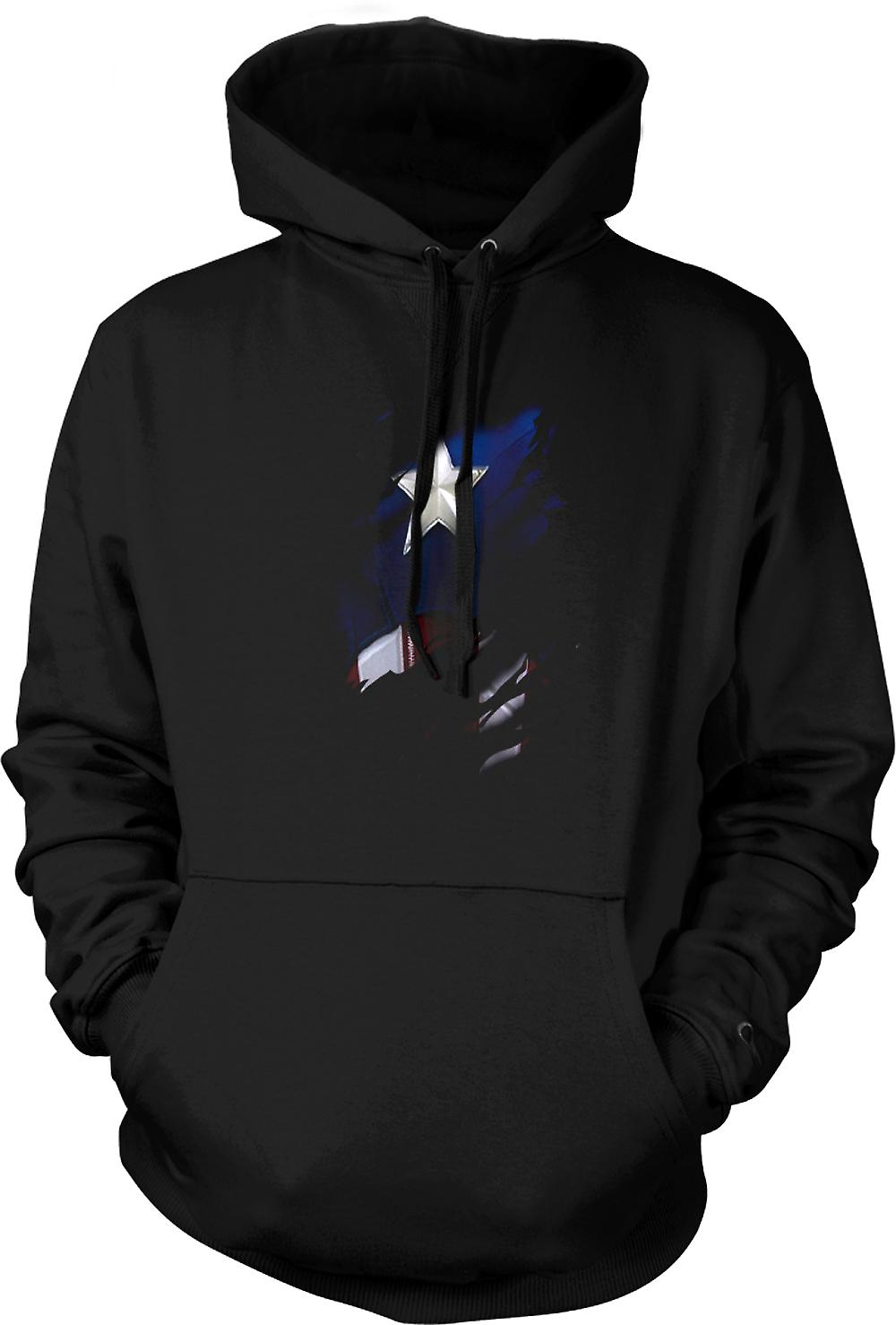 Mens hettegenser - Retro Captain America Super helten dratt Design
