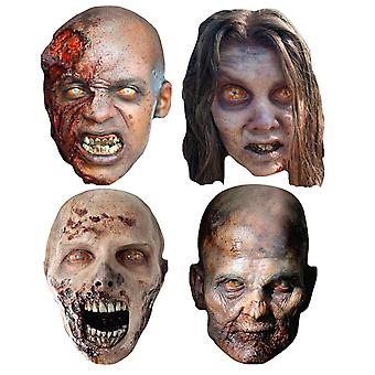 The Walking Dead Zombies Party Card Face Masks Set of 4