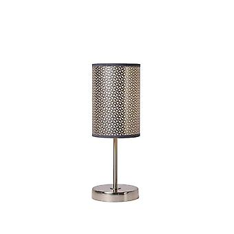 Lucide Moda Cottage Round Metal Grey And Satin Chrome Table Lamp