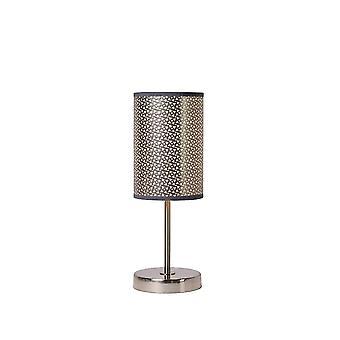 Lucide Moda Cottage ronde metalen grijs en satijn chroom tafellamp