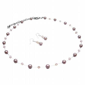 Platinum Champagne Pearls Golden Shadow Crystals Necklace Jewelry Set