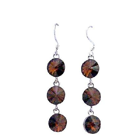 Brown Smoked Topaz Round Crystal 10mm Dangle Silver Hook Earrings