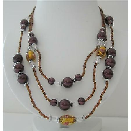 3 Stranded Golden Beads Brown Pearl Millefiori 20 Inches Long Necklace