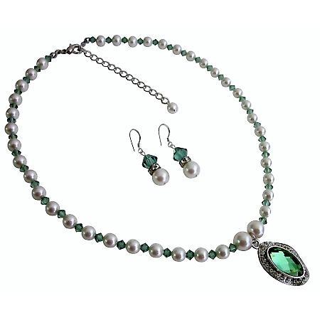 Erinite Crystals White Pearls Necklace Set Swarovski Crystals Jewelry