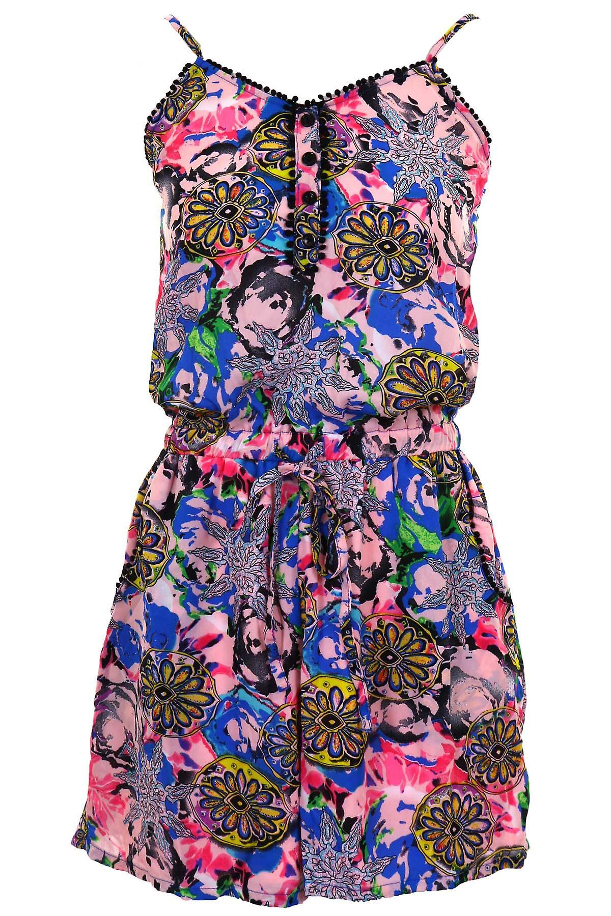 Ladies Strappy Chiffon Lined Floral Elasticated Waist Camisole Women's Playsuit