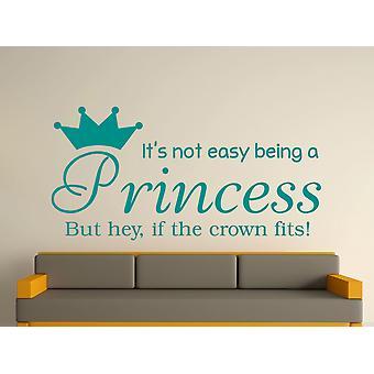 At være en prinsesse væg kunst klistermærke - Aqua Green