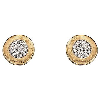 Elements Gold Brushed Finish Earrings - Yellow Gold/Silver