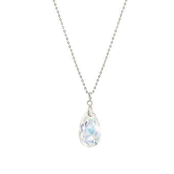 Eternal Collection Brilliance Aurora Borealis Austrian Peardrop Crystal Sterling Silver Pendant
