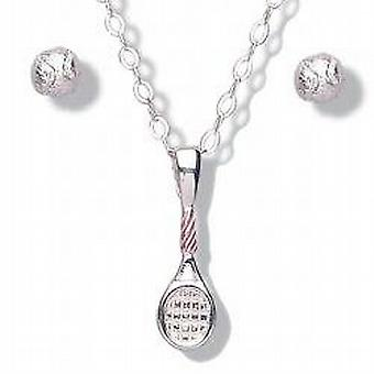 Jo For Girls Tennis Racquet and Balls Pendant & Stud Earrings