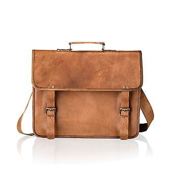Vintage Tan Satchel Briefcase Plain Front 14.5