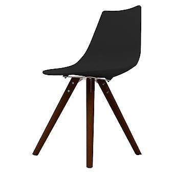 Chaise de salle à manger en plastique noir iconique de fusion vivant avec des jambes en bois foncé
