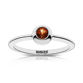 Pepperdine University Waves Engraved Dark Citrine Ring