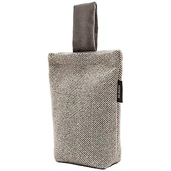 Mcalister textiles herringbone charcoal grey fabric door stop
