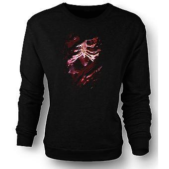 Womens Sweatshirt Zombie Skeleton Undead  Heart Ripped Design