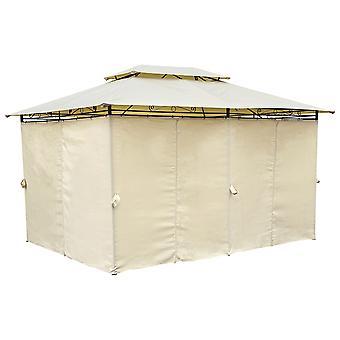 Charles Bentley 3M X 4M staal kunst beige gazebo met side gordijnen Marquee tent