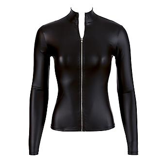 Wet Look Top With Long Sleeves And Zip