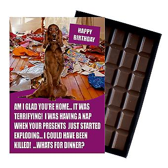 Irish Red Setter Themed Funny Birthday Gift For Dog Lover Chocolate Greeting Card Present