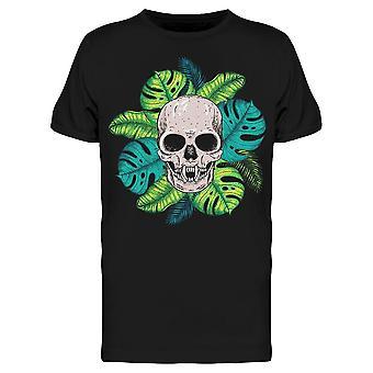 Skull Fangs Palm Leaves Tee Uomini's -Image di Shutterstock